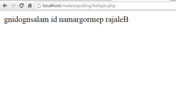 membalik urutan string dengan strrev pada php