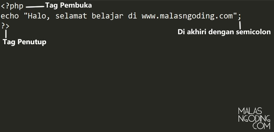 Contoh penulisan syntax php dasar
