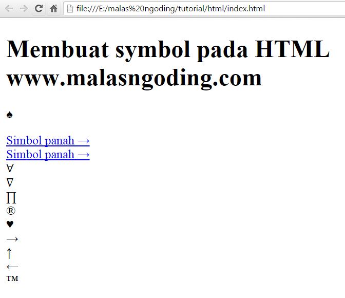 belajar html membuat symbol pada html