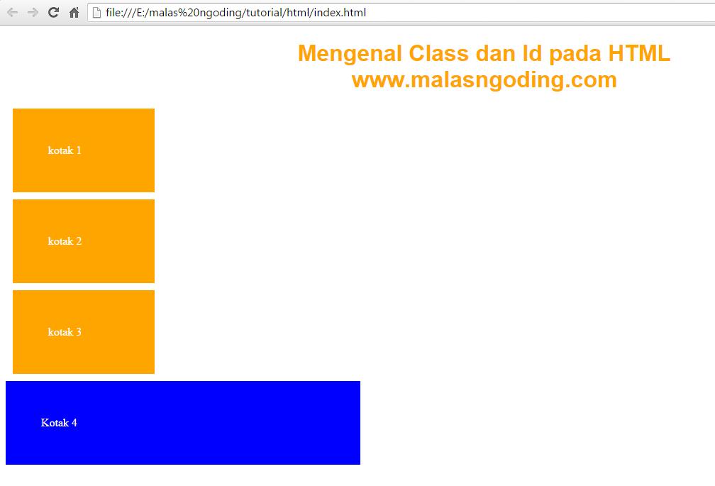 Belajar HTML mengenal class dan id pada html