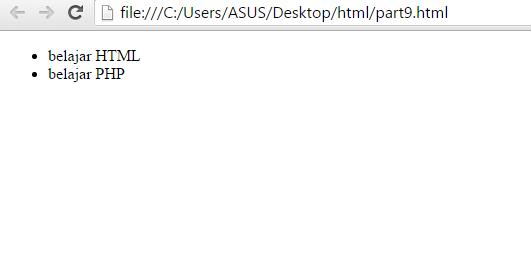 Membuat List Pada HTML