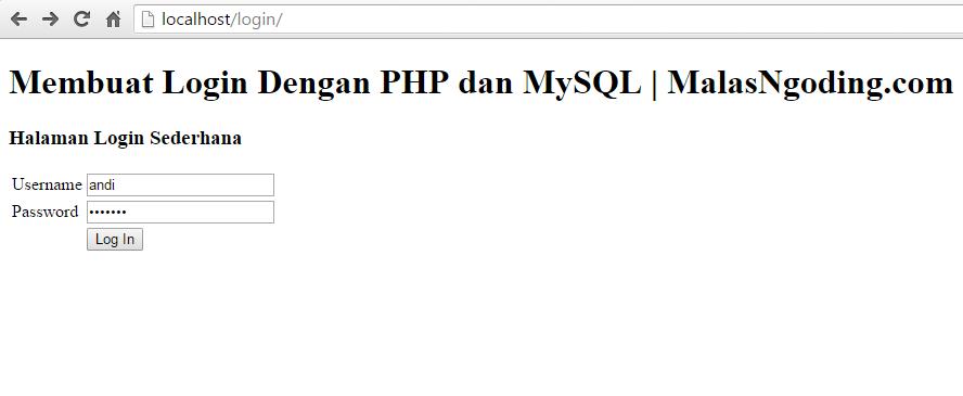 memasukkan username dan password yang salah