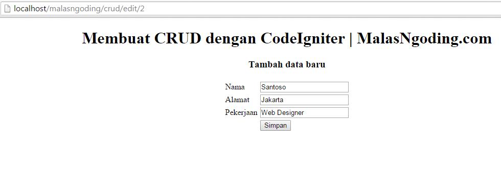 membuat crud dengan codeigniter edit data
