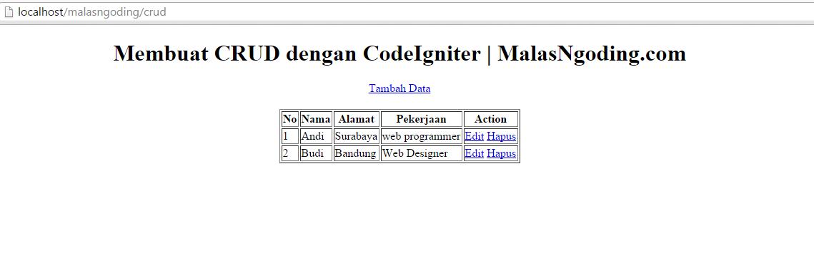 membuat crud dengan codeigniter menampilkan data dari database