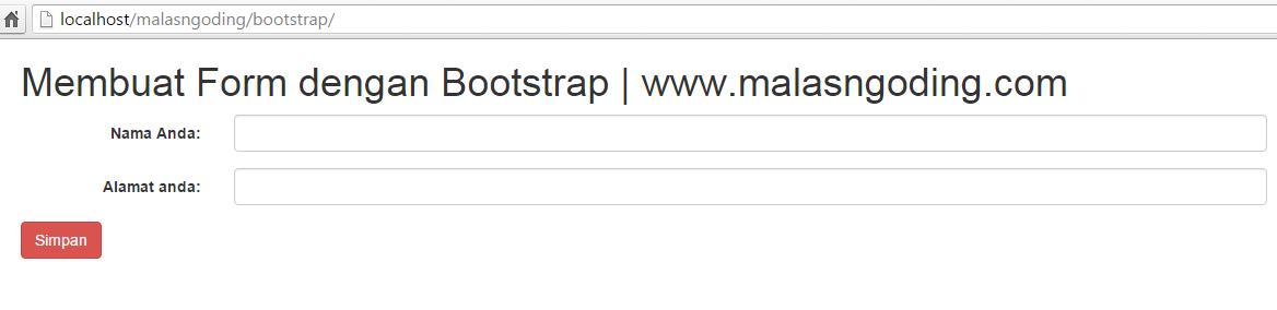 membuat form horizontal dengan bootstrap