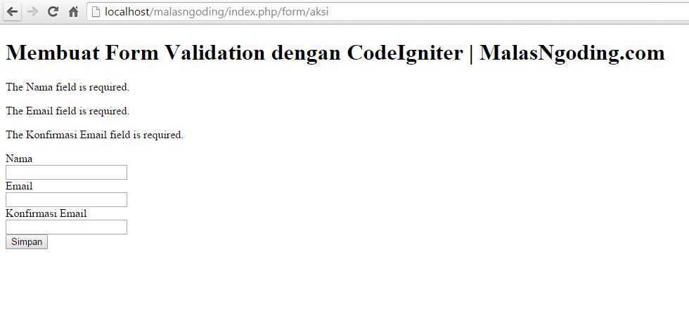 membuat form validation pada codeigniter