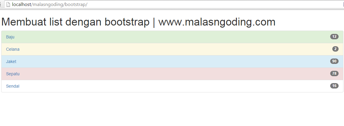 membuat list badge bootstrap