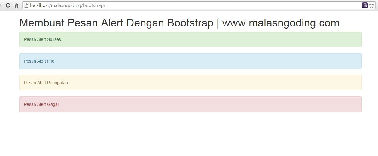 membuat pesan alert dengan bootstrap