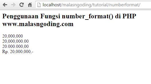 Pengertian Dan Kegunaan Fungsi number format Di PHP