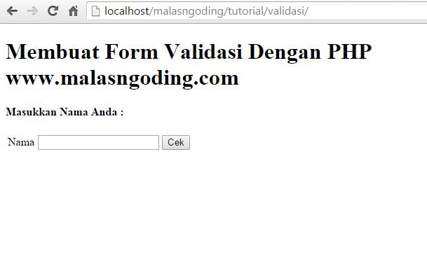 cara membuat form validasi dengan php