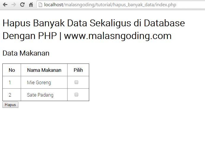 cara menghapus banyak data di database sekaligus dengan php