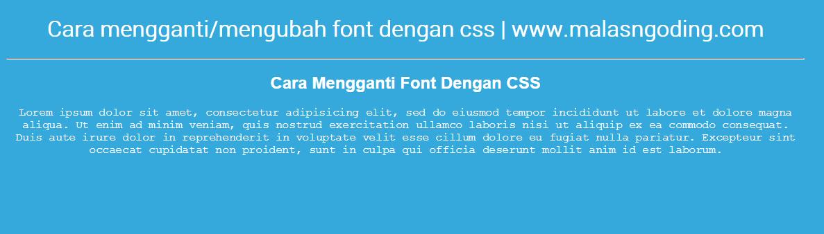 cara mengubah font dengan css