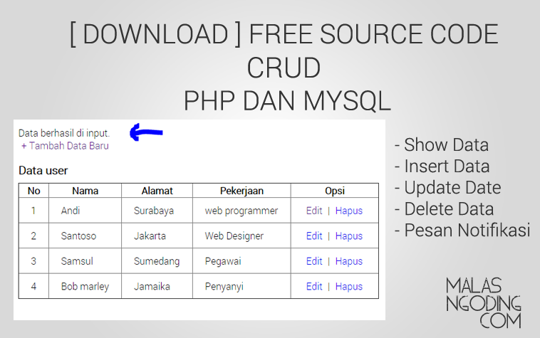 free download source code crud php dan mysql