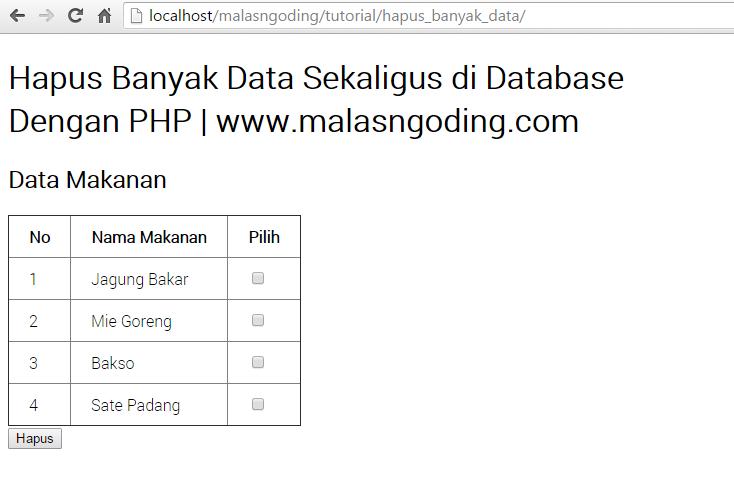 Hapus Banyak Data Sekaligus Dengan PHP