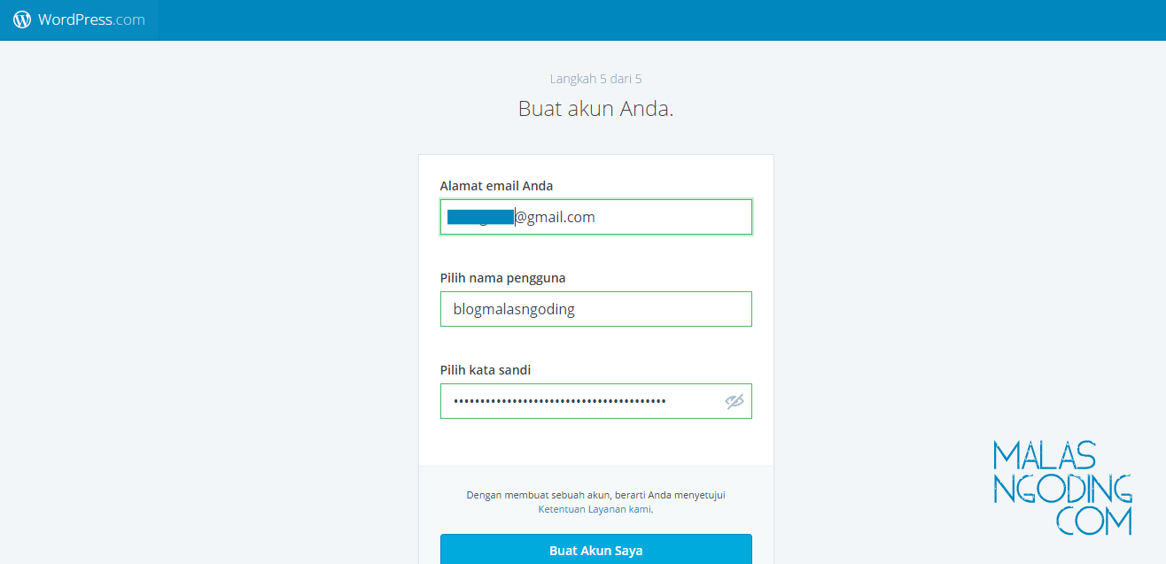 membuat blog di wordpress gratis