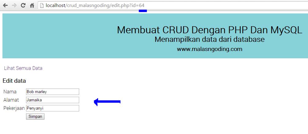 membuat crud dengan php dan mysql edit data