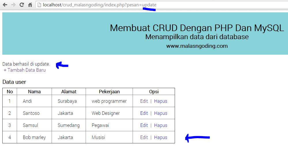 membuat crud dengan php dan mysql update data