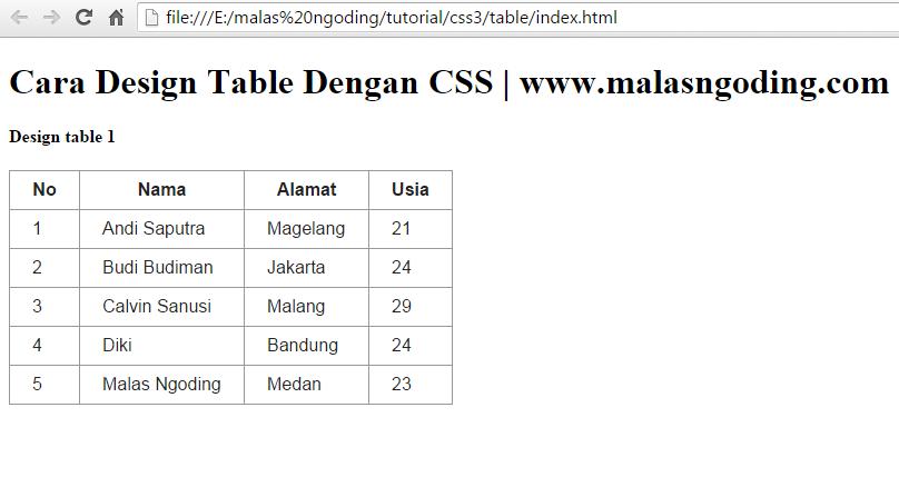 membuat design table sederhana dengan css