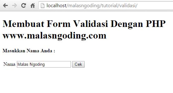 membuat form validation dengan php