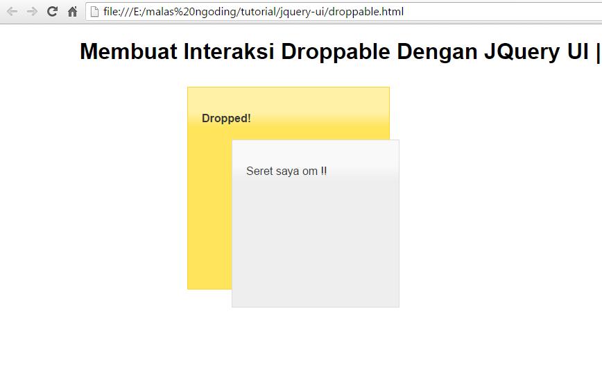 membuat interaksi droppable dengan jquery ui
