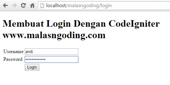 membuat login salah dengan codeigniter