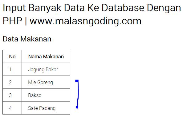 Input Banyak Data Sekaligus Ke Database Dengan PHP
