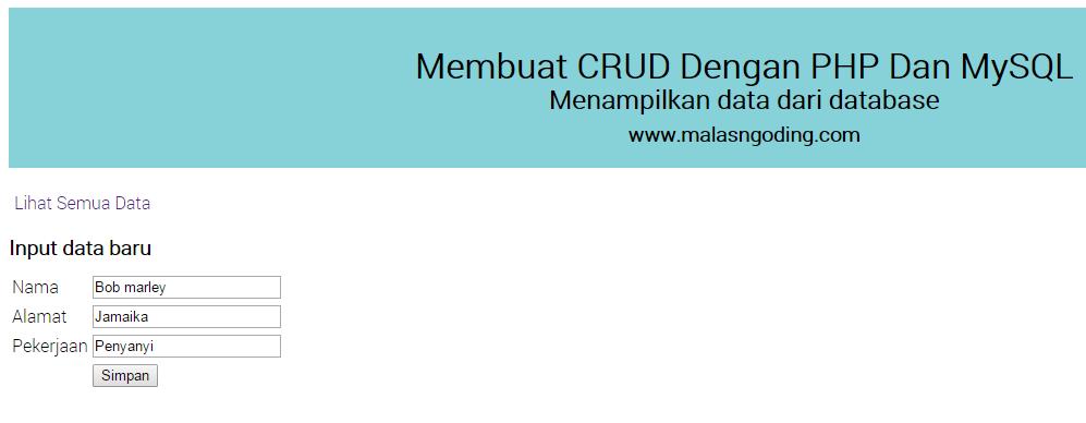 menginput data ke database dengan php dan mysql