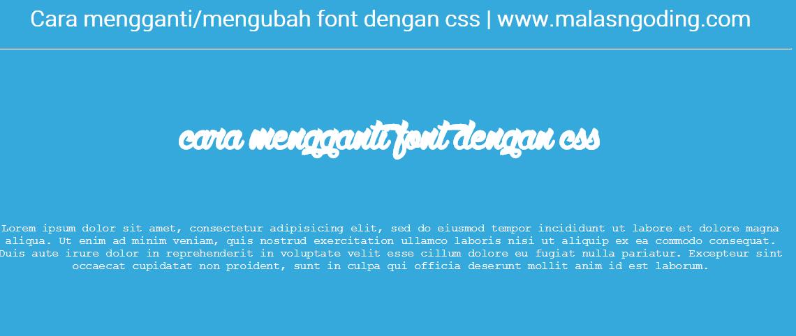 mengubah font dengan css