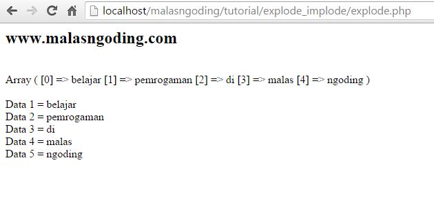 pengertian dan contoh penggunaan fungsi explode php