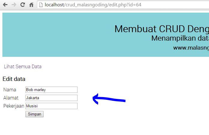 update data pada database dengan php dan mysql