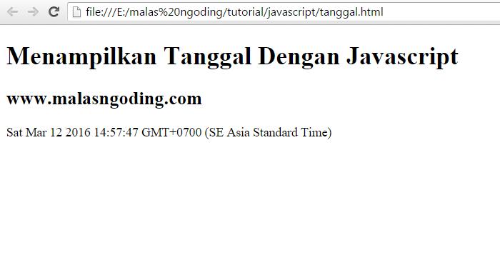 belajar javascript menampilkan tanggal dengan javascript
