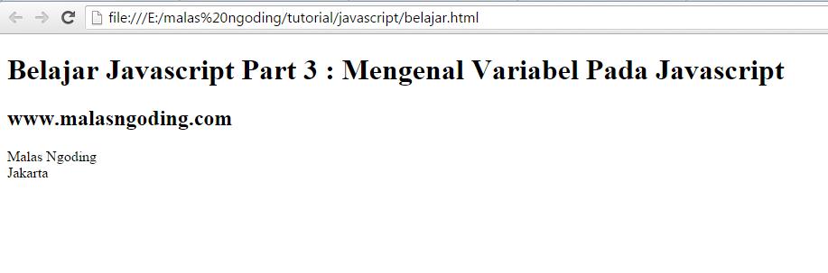 belajar javascript mengenal variabel pada javascript