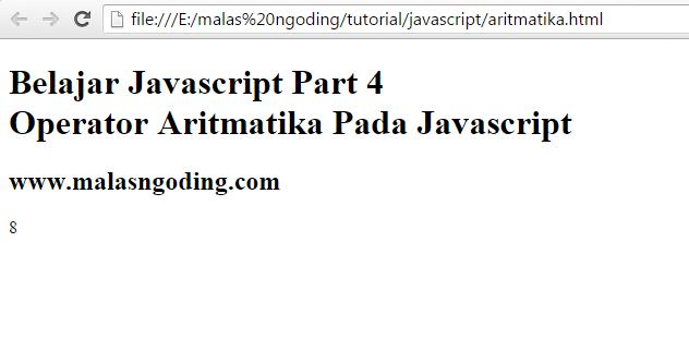 belajar javascript operator aritmatika pada javascript