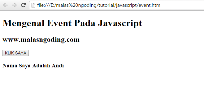 cara membuat event pada javascript