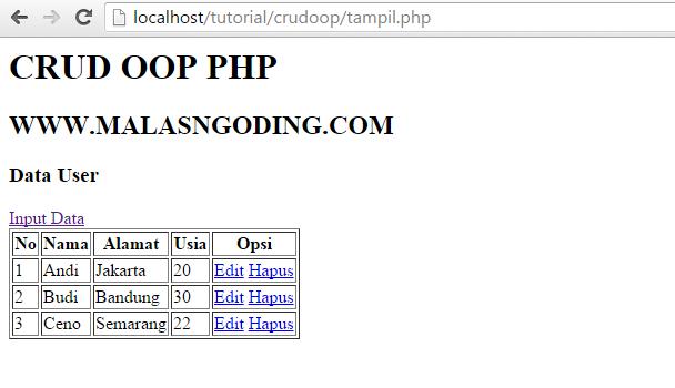 hapus data dengan oop php