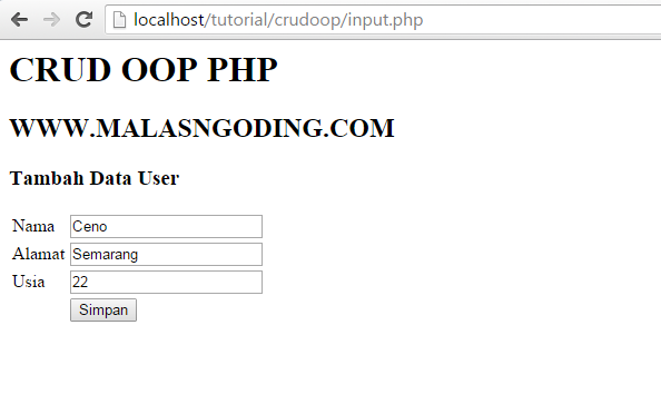 input data ke database dengan oop php