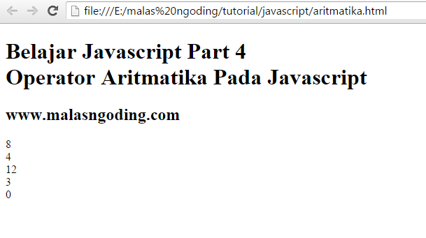 Belajar Javascript Part 4 : Operator Aritmatika Pada Javascript