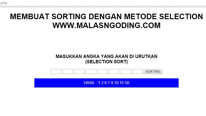 Membuat Sorting Metode Selection Dengan PHP