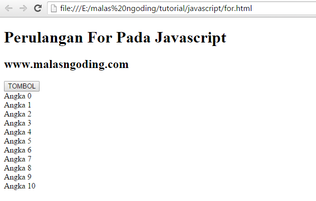 perulangan for pada javascript