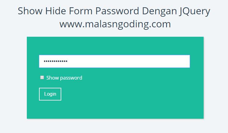 show hide form password dengan jquery