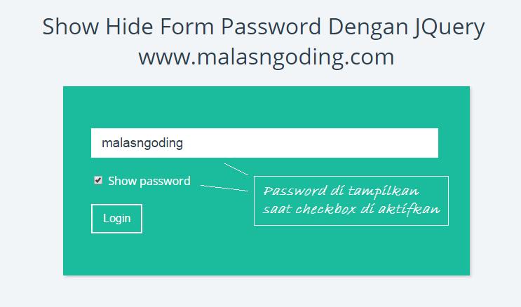 tampil dan sembunyikan password