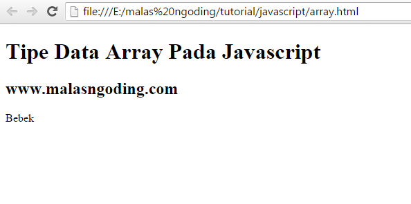 tipe data array pada javascript