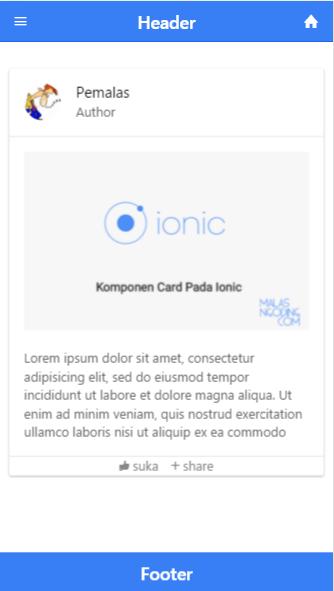 Komponen Card Pada Ionic