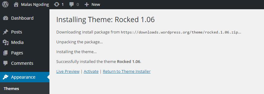 install template wordress