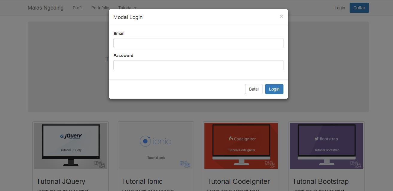 membuat modal login dengan bootstrap