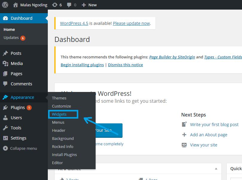 mengatur widget pada wordpress