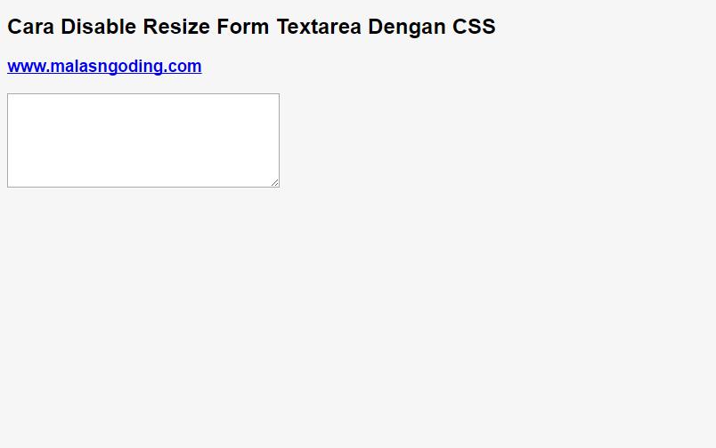 cara disable resize form textarea dengan css