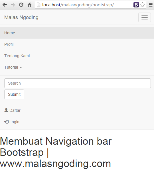 menu navigation bar bootstrap ddropdown