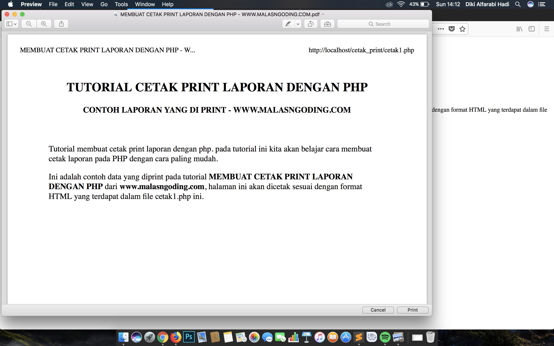 membuat print laporan dengan PHP
