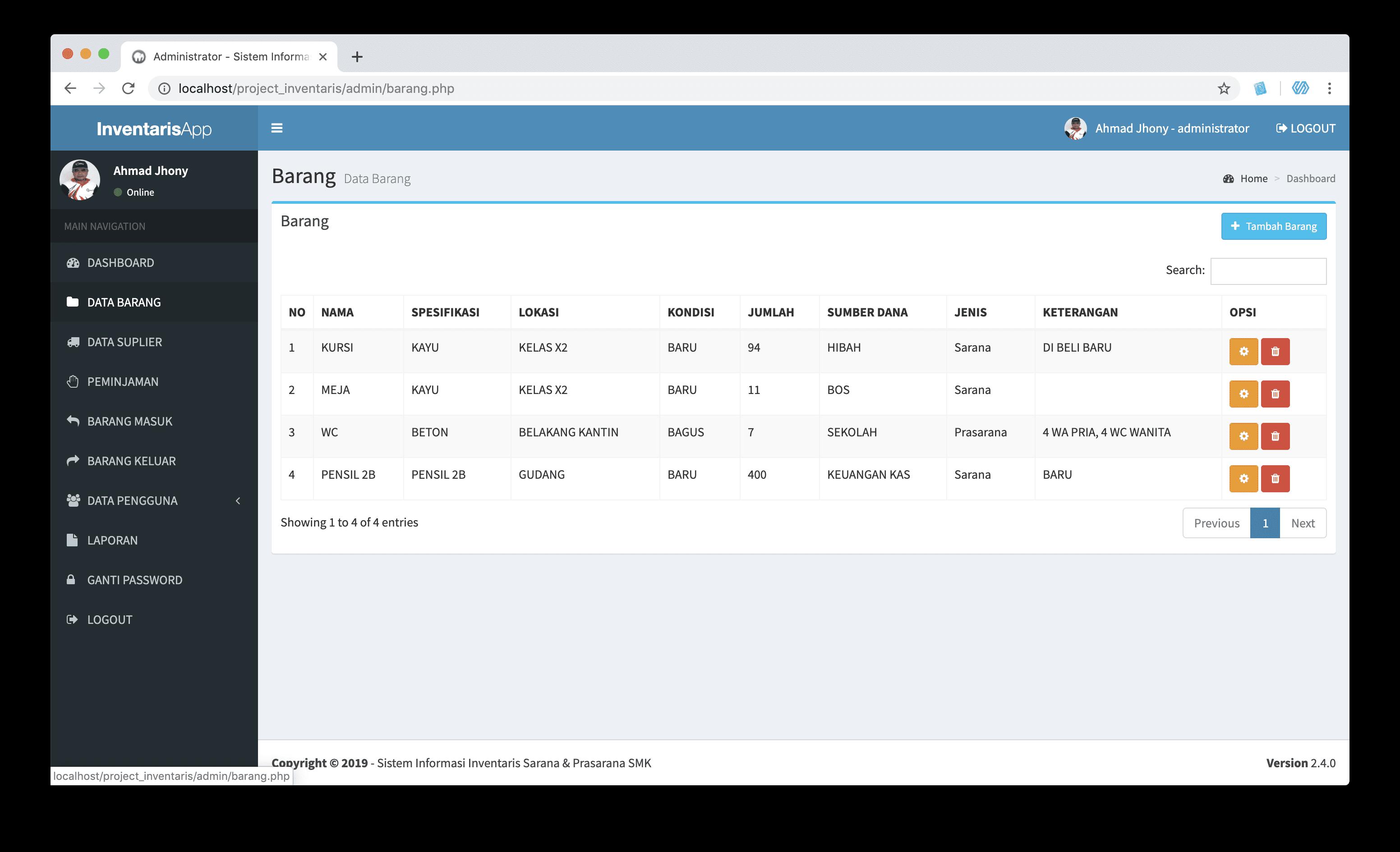 source code sistem informasi inventaris dengan php dan mysqli